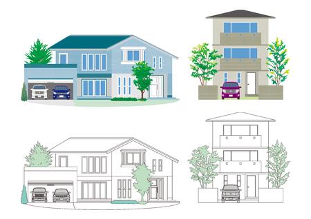 Illustration of the house on white background.