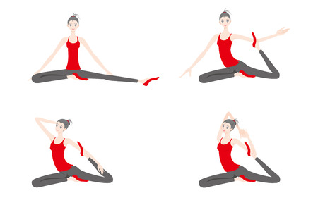 Illustration of a woman exercising yoga Vectores
