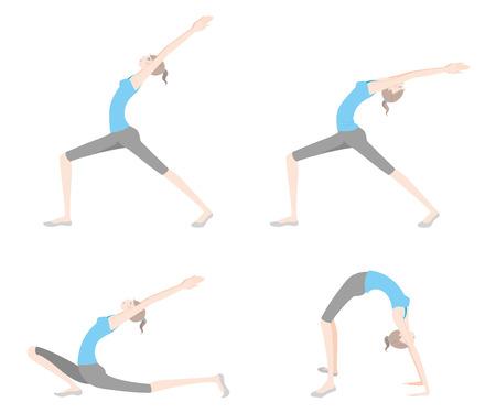 Illustration of a woman exercising yoga. Illustration