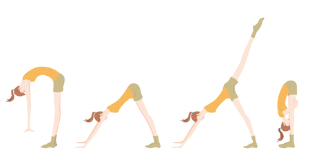 Illustration of a woman exercising yoga. Illustration