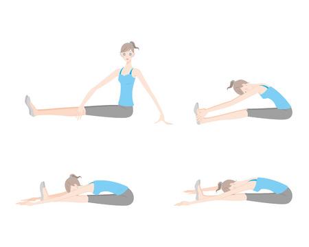 Illustration of a woman exercising yoga  イラスト・ベクター素材