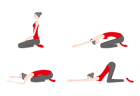 Illustration of a woman exercising yoga in different poses. Illustration