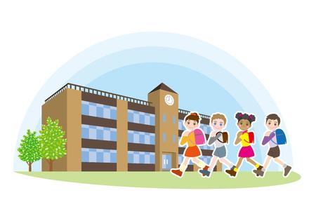 小学校の友達が学校に向かって歩いているイラスト。
