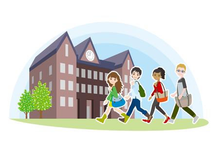 College students friends illustration walking towards school.