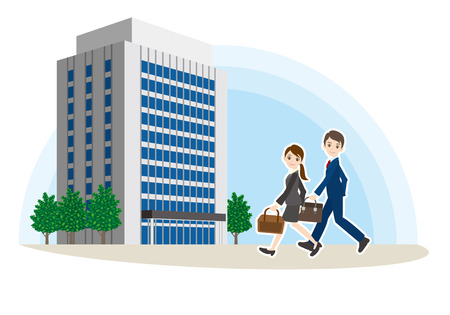 Illustration of work associates walking towards building. Imagens - 96099514