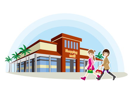 Illustration of shopping with friends walking towards mall.