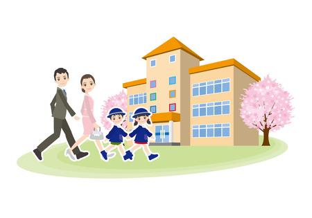 Illustration of children and family going to kindergarten Illustration