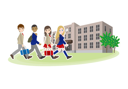 High school friends illustration