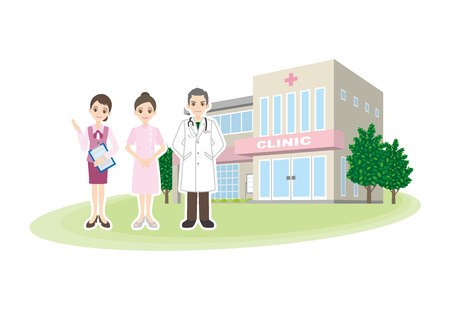 Illustration of a hospital doctor and a nurse