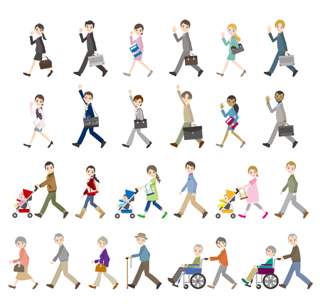 Illustrations of various people for Business and family Çizim