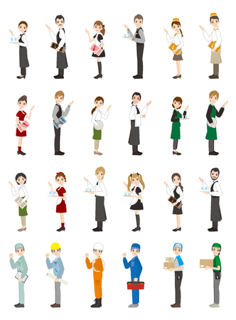 Set illustration of different working people.