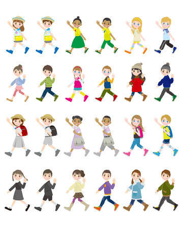 various people  Children Vector illustration.