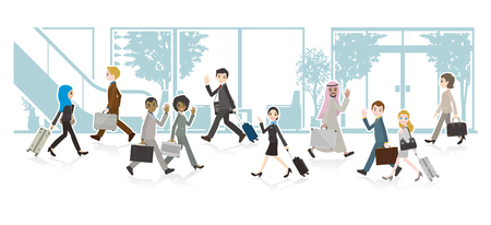 Illustration of a Working people and background