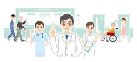 Illustration d'un hôpital et d'un médecin