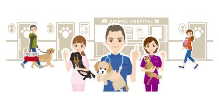 Illustration of animal hospital and veterinarian