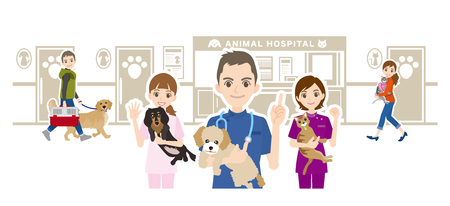 Illustration of animal hospital and veterinarian