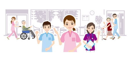 Illustration of nursing home and care worker Çizim