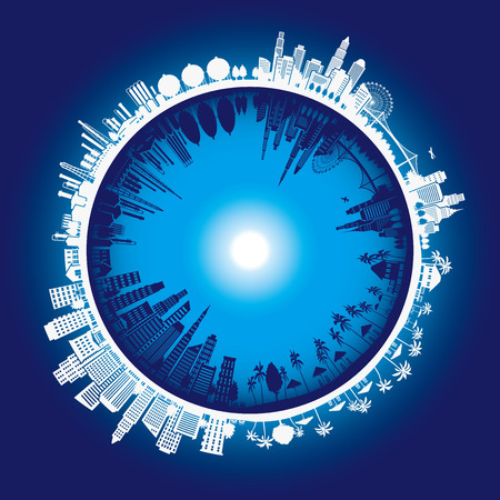 Illustration of the cityscape, earth, Illustration