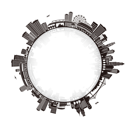 Illustration of the cityscape, Development,  イラスト・ベクター素材