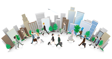 Illustration of a Working people and cityscape  イラスト・ベクター素材