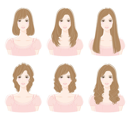 Illustration of the hairstyle  イラスト・ベクター素材