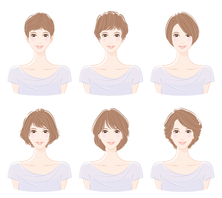 Illustration of the hairstyle 向量圖像