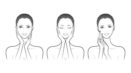 Illustration d'une femme faisant des soins de la peau