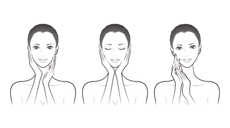 Ilustración de una mujer haciendo cuidado de la piel
