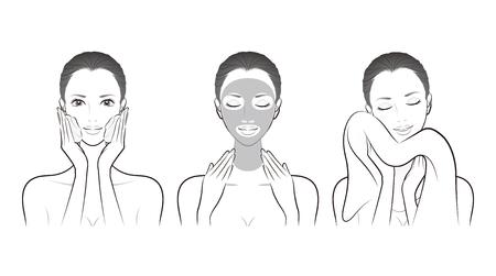Illustration of a woman doing skin care Vektorové ilustrace