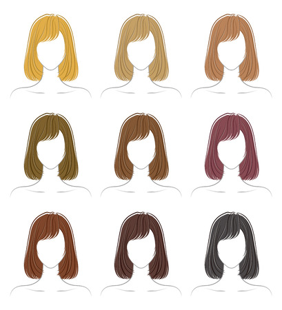 Coloring of the hairstyle  イラスト・ベクター素材