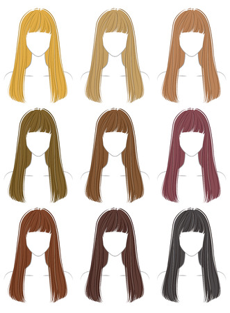 Coloring of the hairstyle 向量圖像