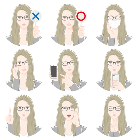 Various expressions of the woman