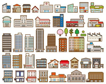 Illustrationen verschiedener Gebäude