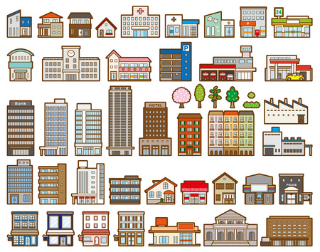 Illustrations of various buildings 向量圖像
