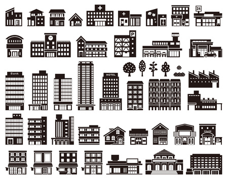 Illustrations of various buildings Illustration
