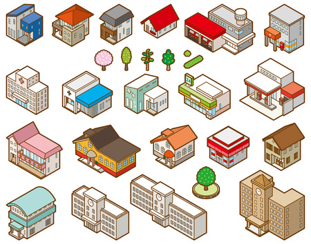 Stereoscopic illustration of various buildings Vektorové ilustrace