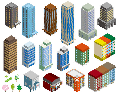 Stereoscopic illustration of various buildings