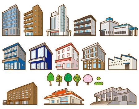 Illustrations of various buildings Illustration