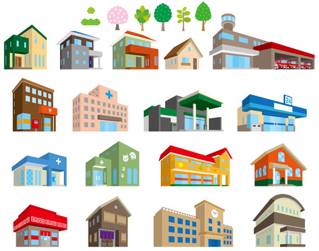 Illustrations of various buildings Иллюстрация
