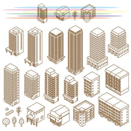 Illustrations of various buildings 矢量图像