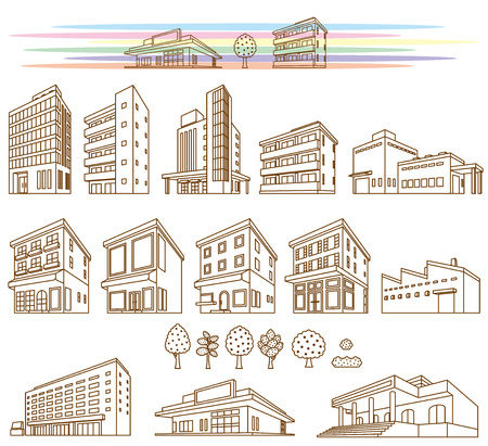 Illustrations of various buildings Stock Illustratie