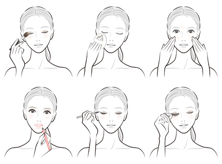Illustration of a woman doing makeup 向量圖像