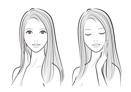 Illustration of a beautiful woman  イラスト・ベクター素材