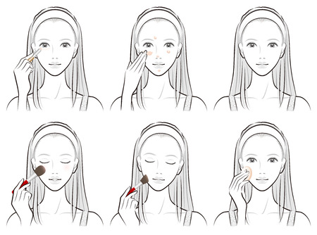 Illustration of a woman doing makeup Stock Illustratie