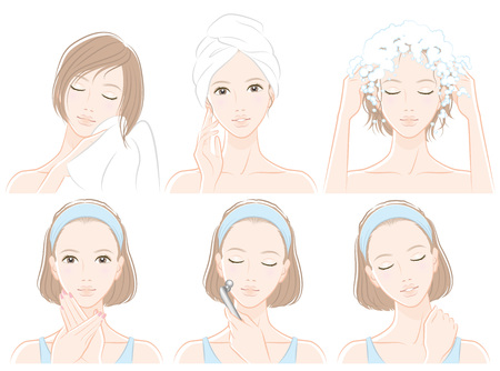 Illustration of woman doing hair care and skin care