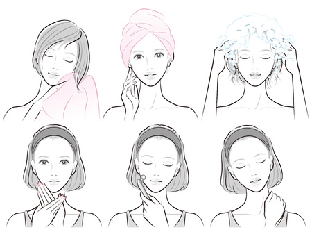 Illustration of woman doing hair care and skin care Zdjęcie Seryjne - 126398636