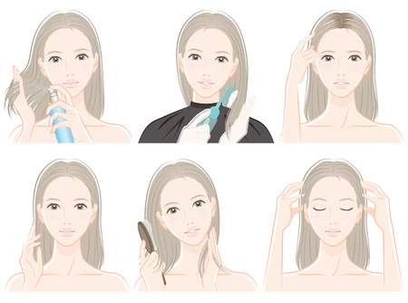 Illustration of woman doing hair care 向量圖像