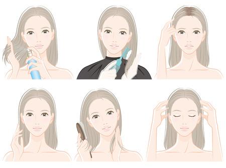 Ilustración de mujer haciendo cuidado del cabello
