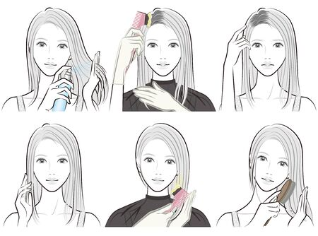 Illustration of woman doing hair care  イラスト・ベクター素材