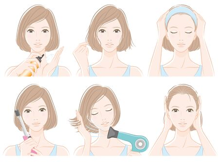 Illustration of woman doing hair care